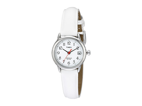 Timex Easy Reader White Leather Strap