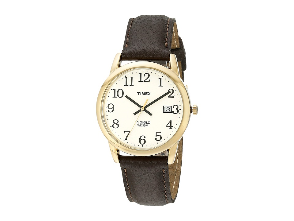 Timex Timex - Classic EZRead Analog Gold Case Brown Leather Strap Watch