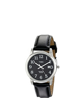 Timex - Classic EZRead Analog Silver Case Black Leather Strap Watch