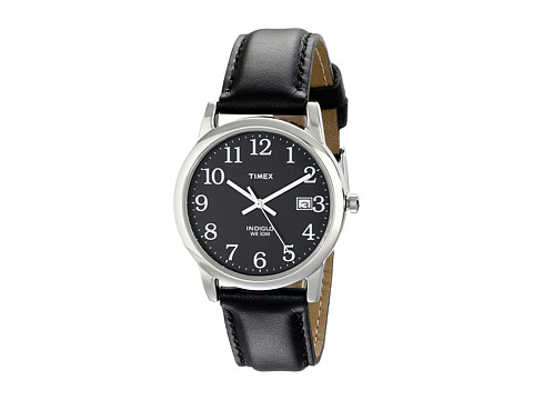Timex Classic EZRead Analog Silver Case Black Leather Strap Watch