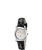 Timex - Dress Sport Chic Round Silver Tone Black Leather Strap Watch