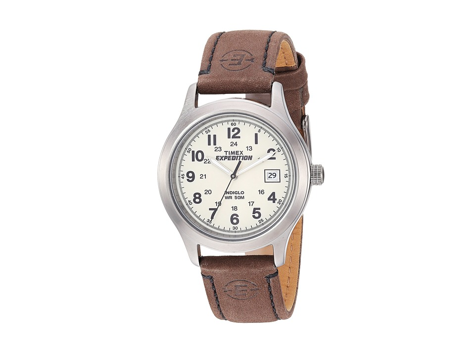 Timex - EXPEDITION Full Size Brown Leather Field Watch (Silver) Watches