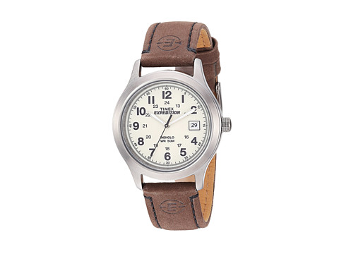 Timex EXPEDITION® Full Size Brown Leather Field Watch