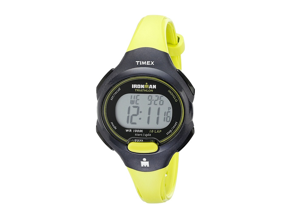 Timex - Sport Ironman Green and Black Mid Size 10 Lap Watch (Black/Lime) Watches
