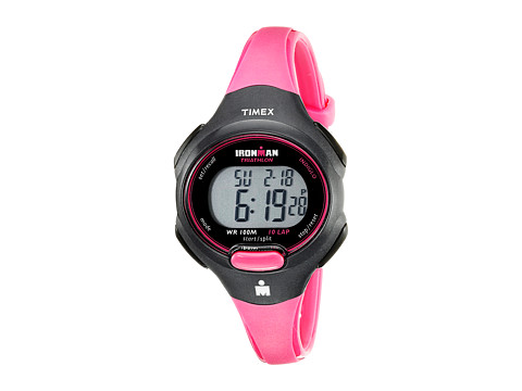 Timex Sport Ironman Pink and Black Mid Size 10 Lap Watch - Black/Hot Pink