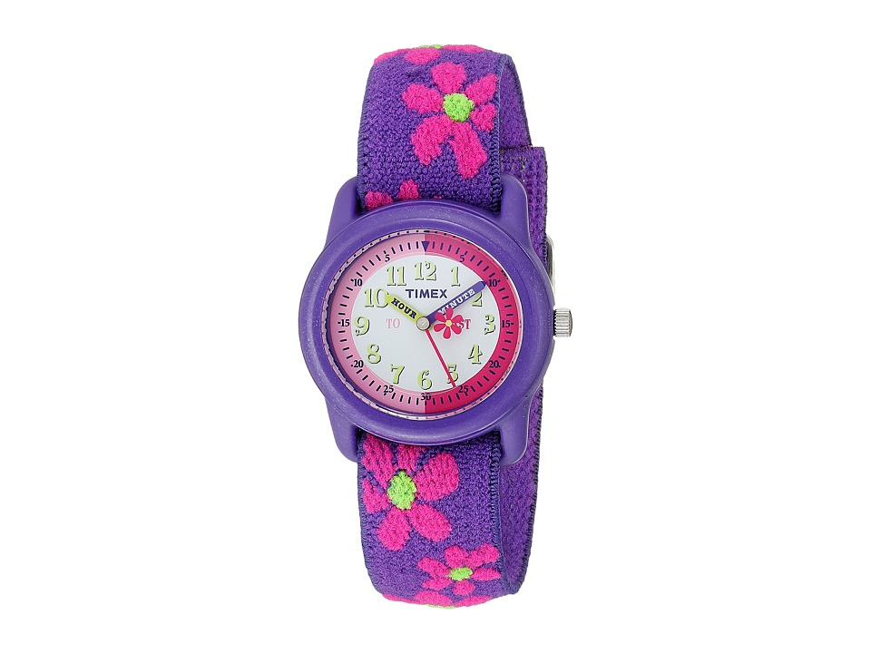 Timex Childrens Time Teacher Flowers Stretch Band Watch Purple Watches