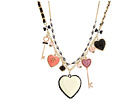 Betsey Johnson - V-Day Heart Large Heart/Key Necklace (White/Pink/Antique Gold) - Jewelry