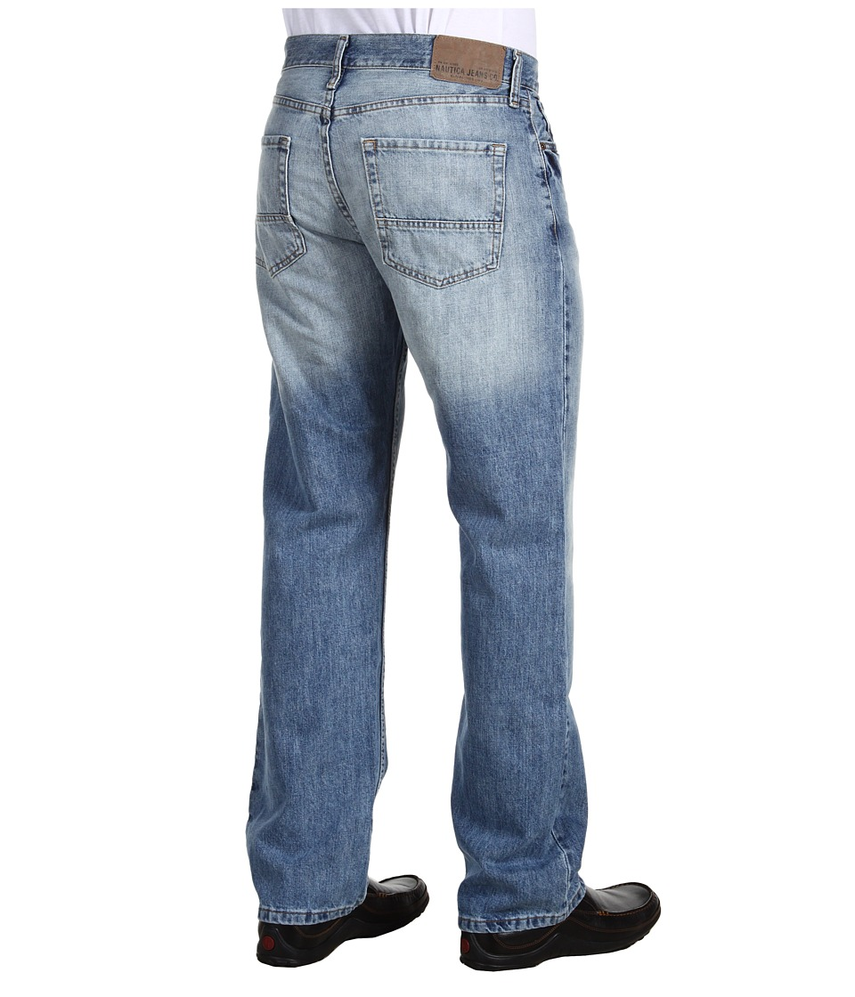 Nautica Relaxed Fit Light Wash Cross Hatch Jean (Hoklin Blue) Men