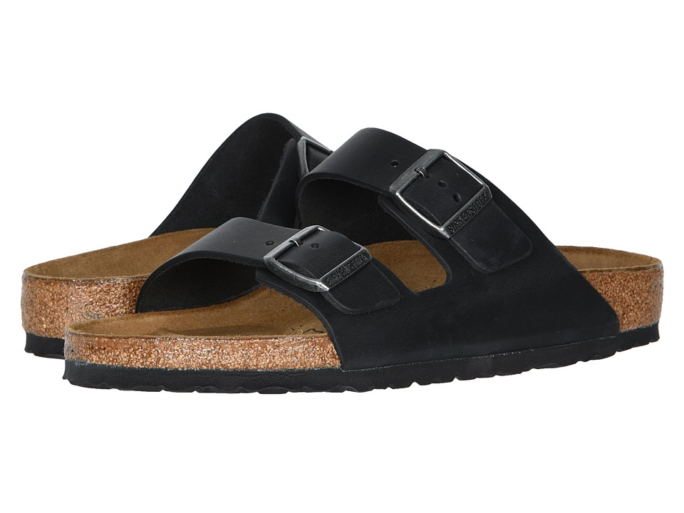 Birkenstock Arizona Oiled Leather Unisex Black Oiled Leather Sandals