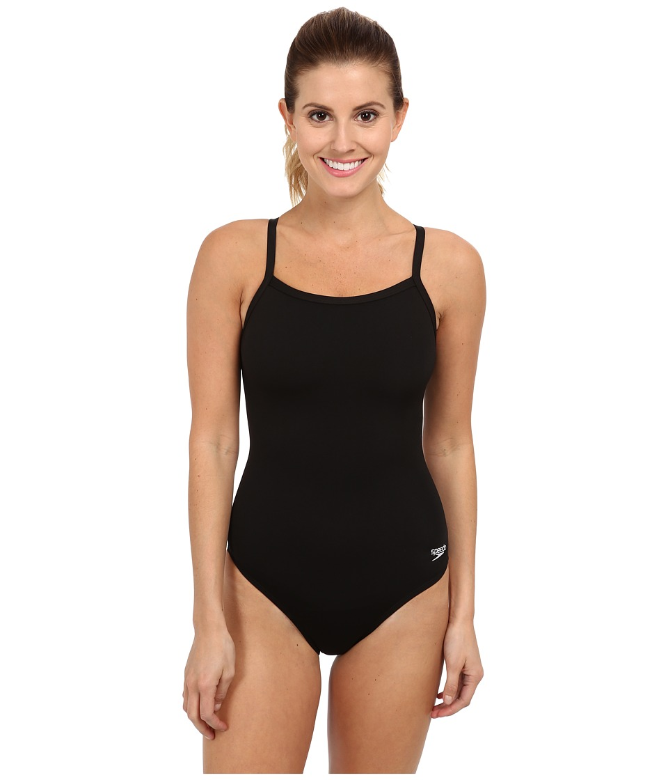 Speedo Endurance+ Flyback Training Suit (Black/Black) Women's Swimwear