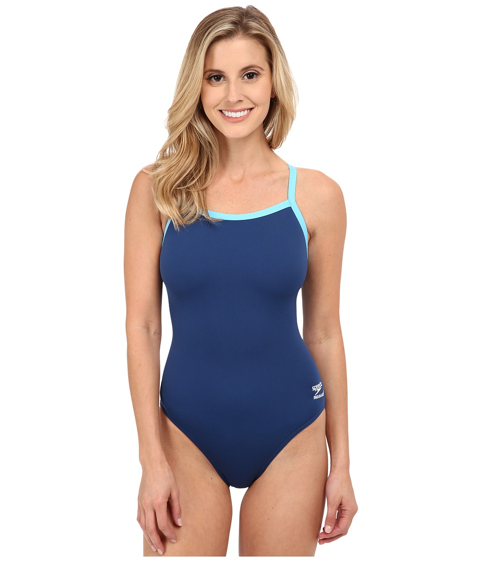 Speedo Endurance+ Flyback Training Suit (Navy/Blue) Women's Swimwear