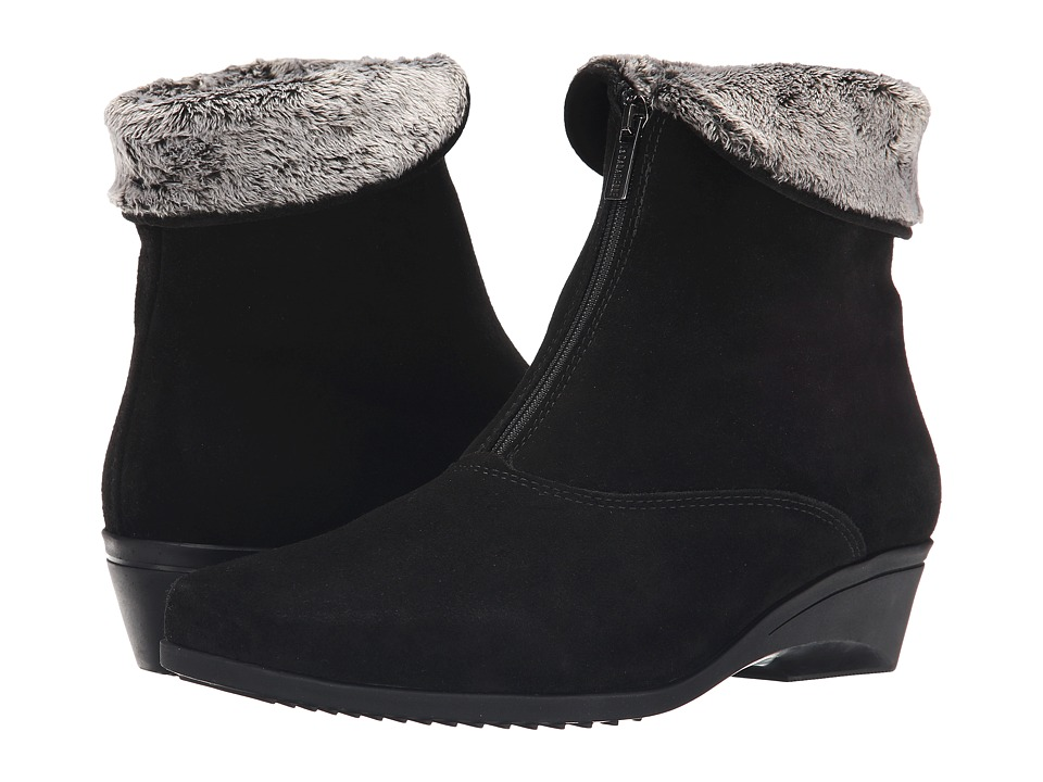 1950s Style Shoes La Canadienne - Evitta Black Suede Womens Zip Boots $375.00 AT vintagedancer.com