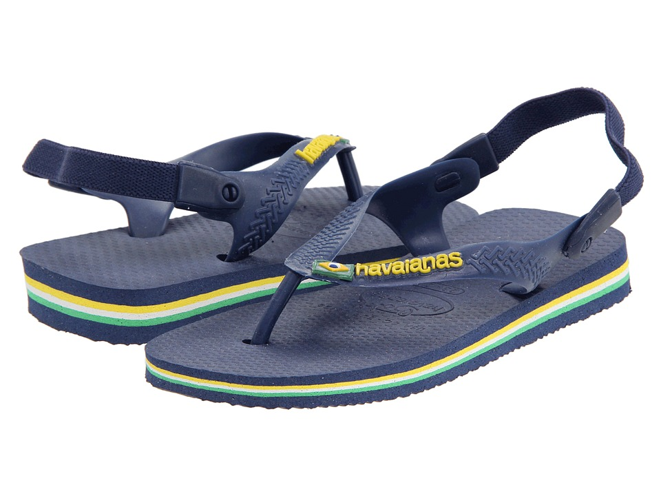 Havaianas Kids Baby Brasil Logo Flip Flops (Toddler) (Navy/Yellow) Boy's Shoes