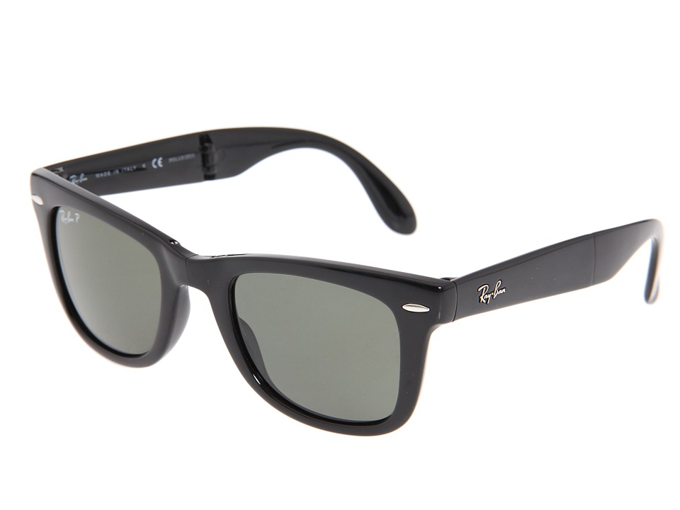Ray-Ban - RB4105 Folding Wayfarer Polarized 50 Medium (Black/Polarized Lens) Fashion Sunglasses