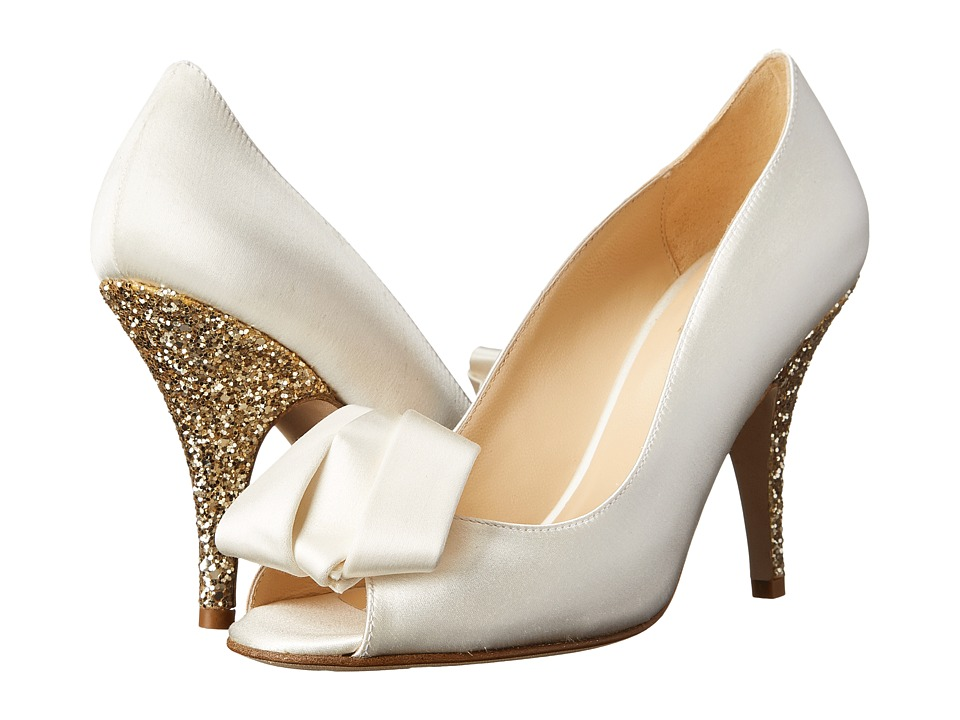 Kate Spade New York Clarice (Ivory Satin/Gold Glitter) Women's Toe Open Shoes