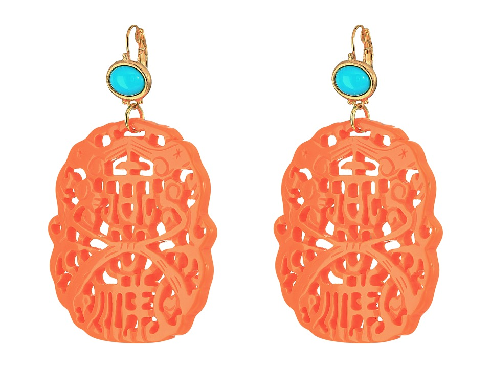 Kenneth Jay Lane - 7834ETLC (Light Coral/Turquoise) Earring