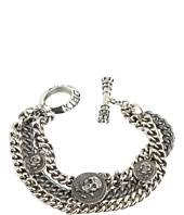 King Baby Studio - Three Strand Mixed Chain Bracelet with 3 Skull Vintage Coins