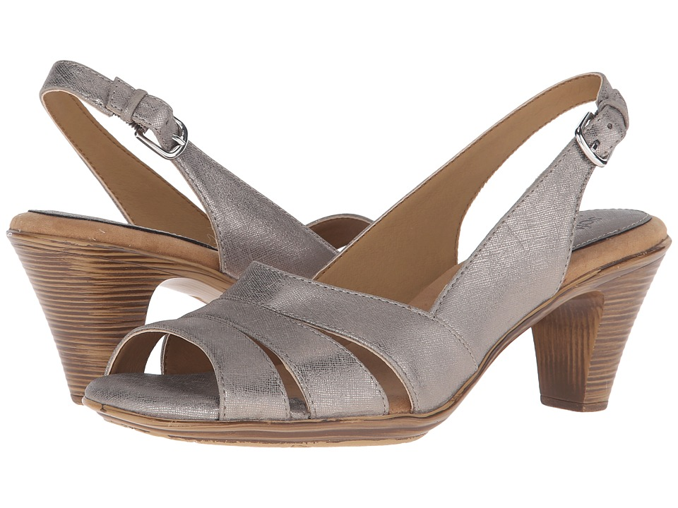 Comfortiva Neima Soft Spots Anthracite Foil Goat Womens Dress Sandals