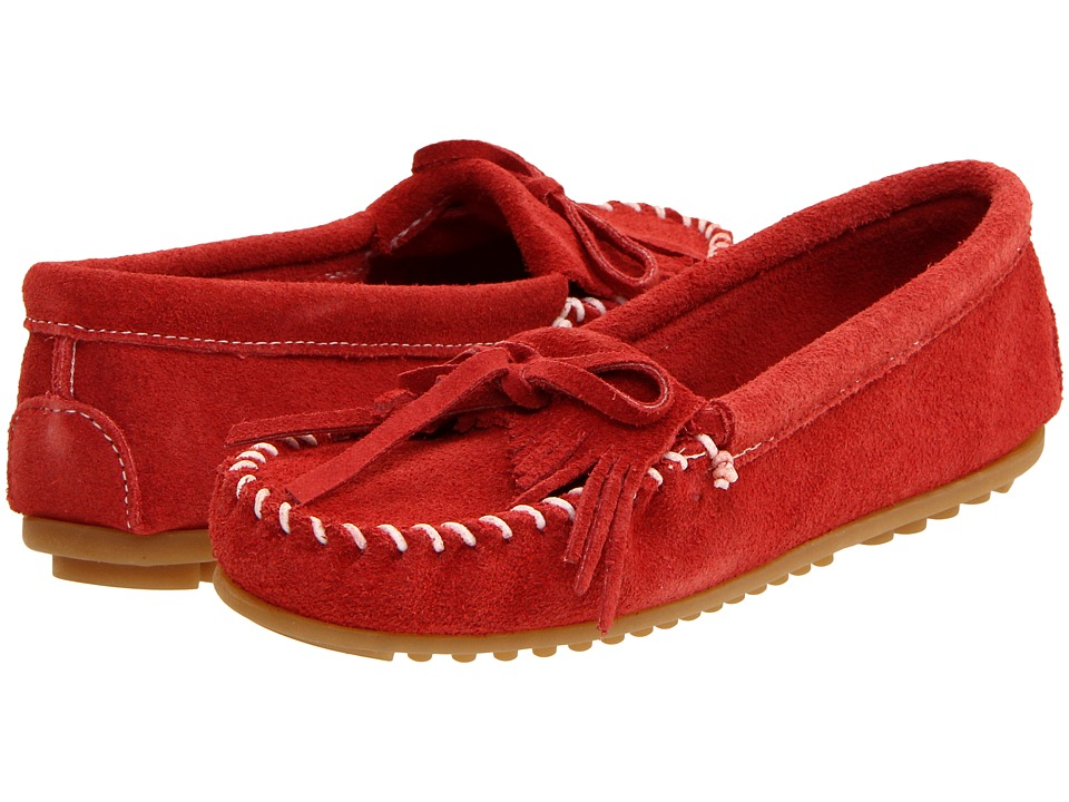 Minnetonka Kilty Suede Moc Red Suede Womens Moccasin Shoes