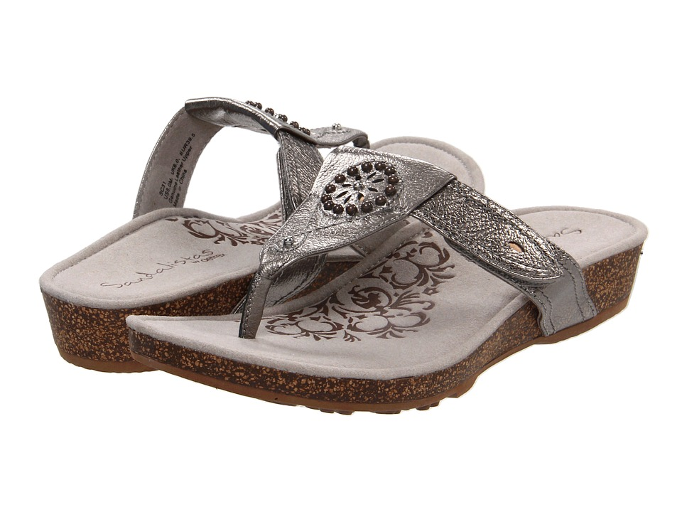 Aetrex Emily Sandalistas Lynco Footbed Pewter Womens Sandals