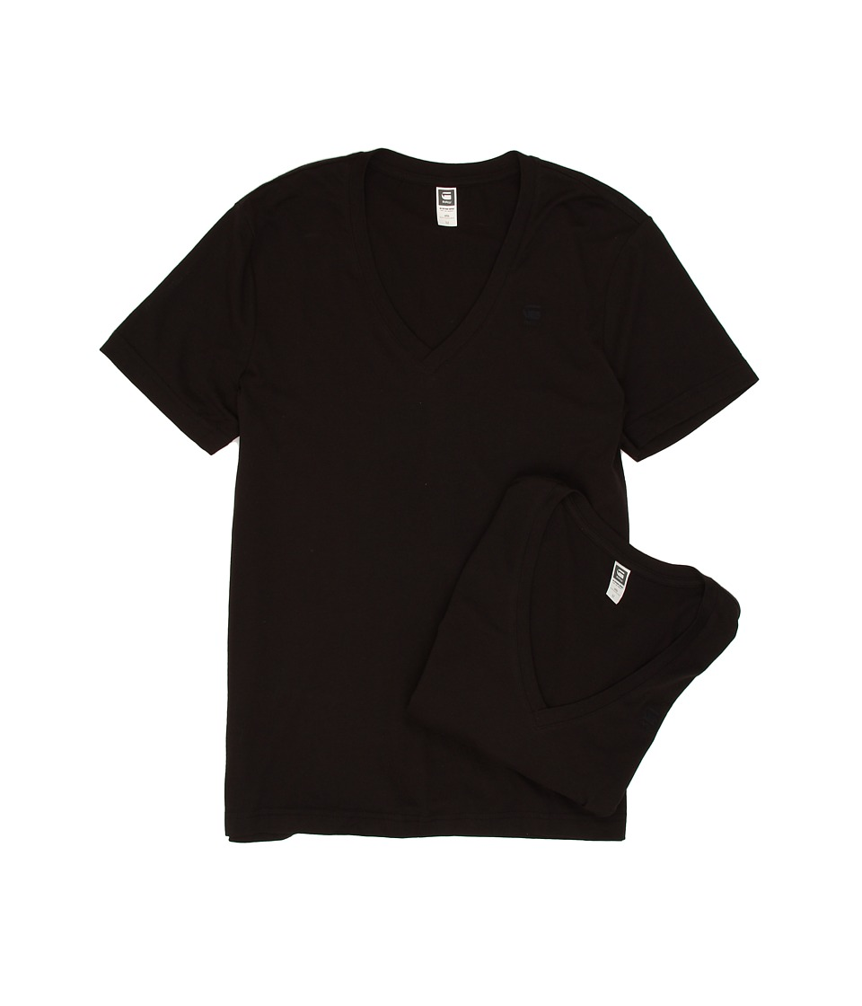 G-Star - Base Heather V-Neck Tee 2-Pack (Solid Black) Mens Short Sleeve Pullover