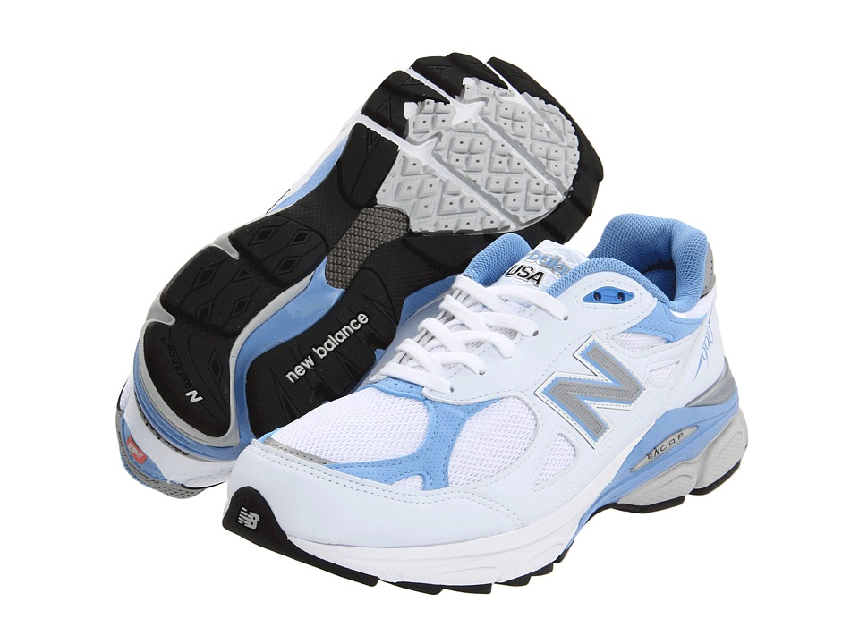 New Balance - W990v3 (White/Blue) Womens Running Shoes