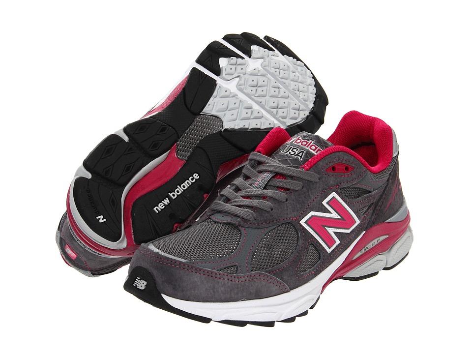 New Balance - W990v3 (Grey/Pink) Womens Running Shoes