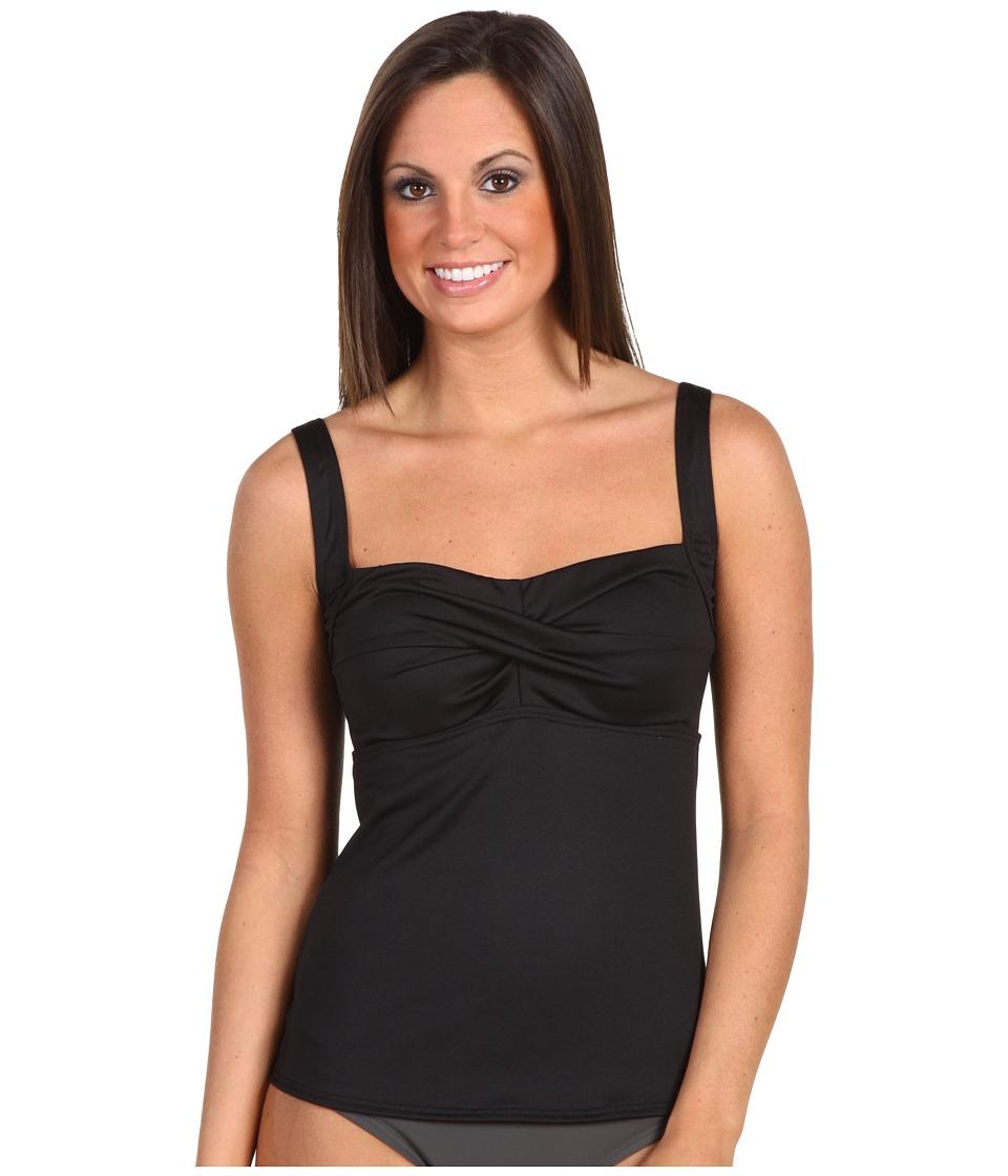 TYR Solid Twisted Bra Tankini (Black) Women's Swimwear