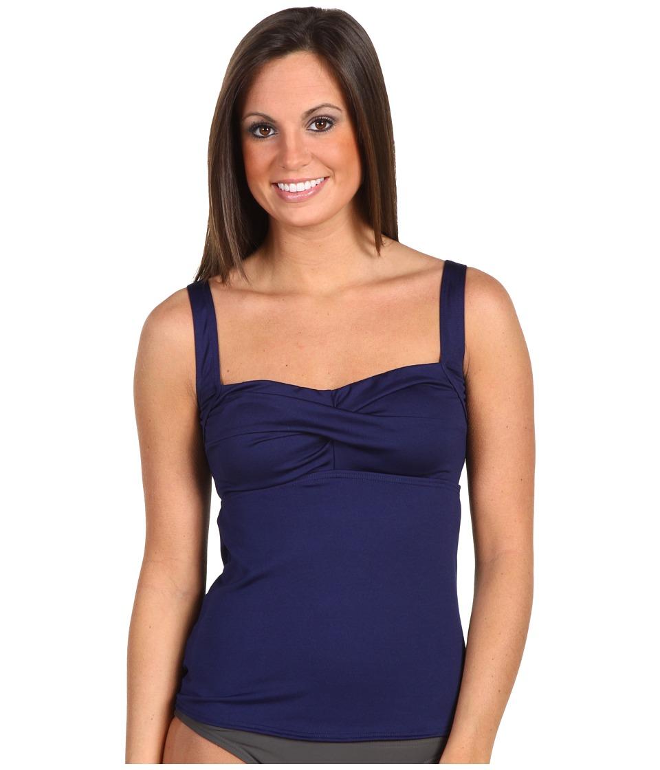 TYR Solid Twisted Bra Tankini (Navy) Women's Swimwear