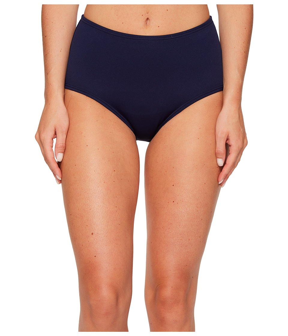 TYR Solid High Waist Bikini Bottom (Navy) Women