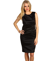 Nicole Miller - Sleeveless Tucked Stretch Satin Dress