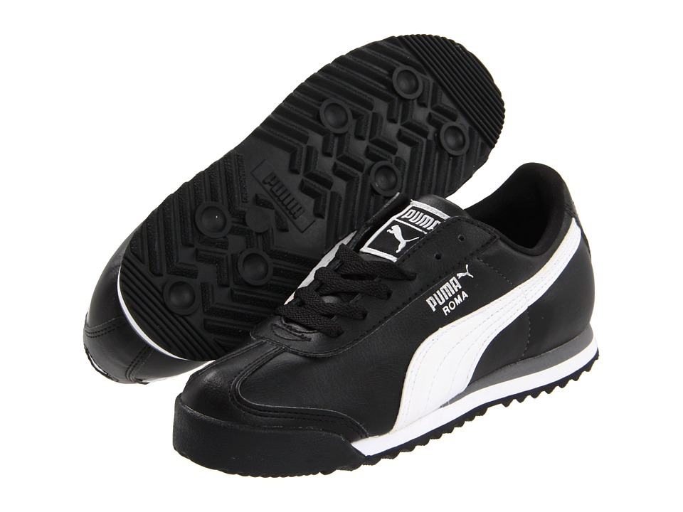 Puma Kids Roma Basic Jr. (Little Kid/Big Kid) (Black/White/Puma Silver) Kids Shoes
