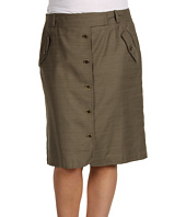 Anne Klein Plus - Plus Size Slubby Texture Button Front Skirt