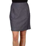 Anne Klein Petite - Petite Indigo Twill Skirt With Pleats
