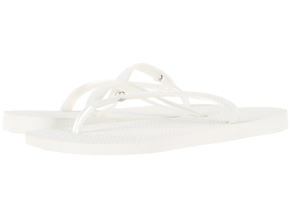 Havaianas - Slim Crystal Glamour SW Flip Flops (White) Womens Sandals