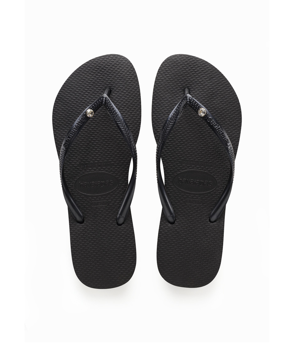 Havaianas Slim Crystal Glamour SW Flip Flops (Black) Sandals