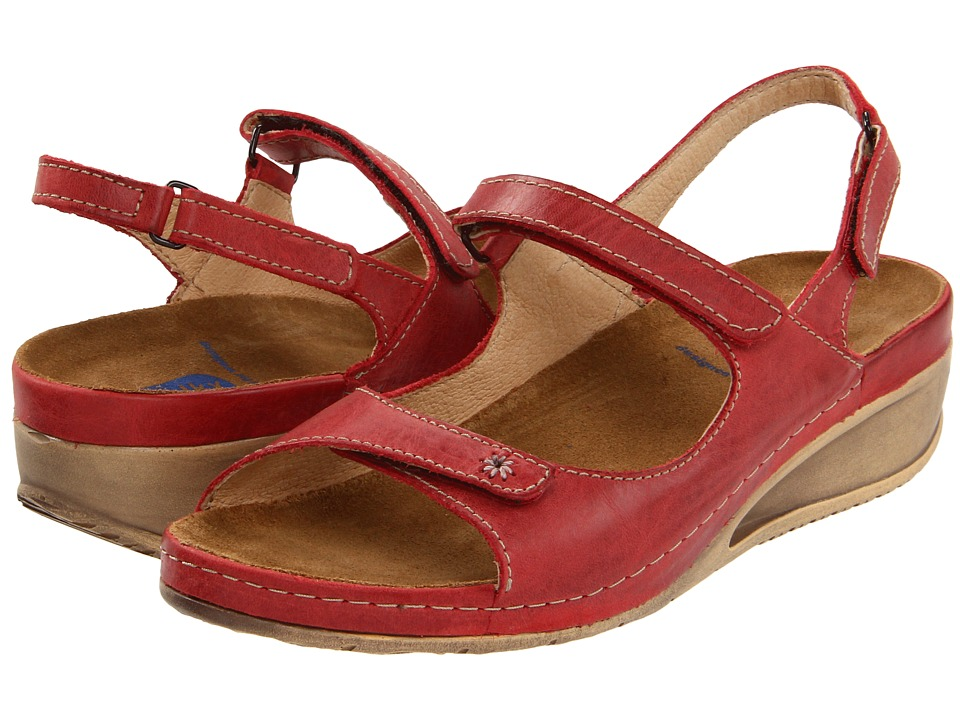 Wolky Tsunami Red Cartago Leather Womens Sandals