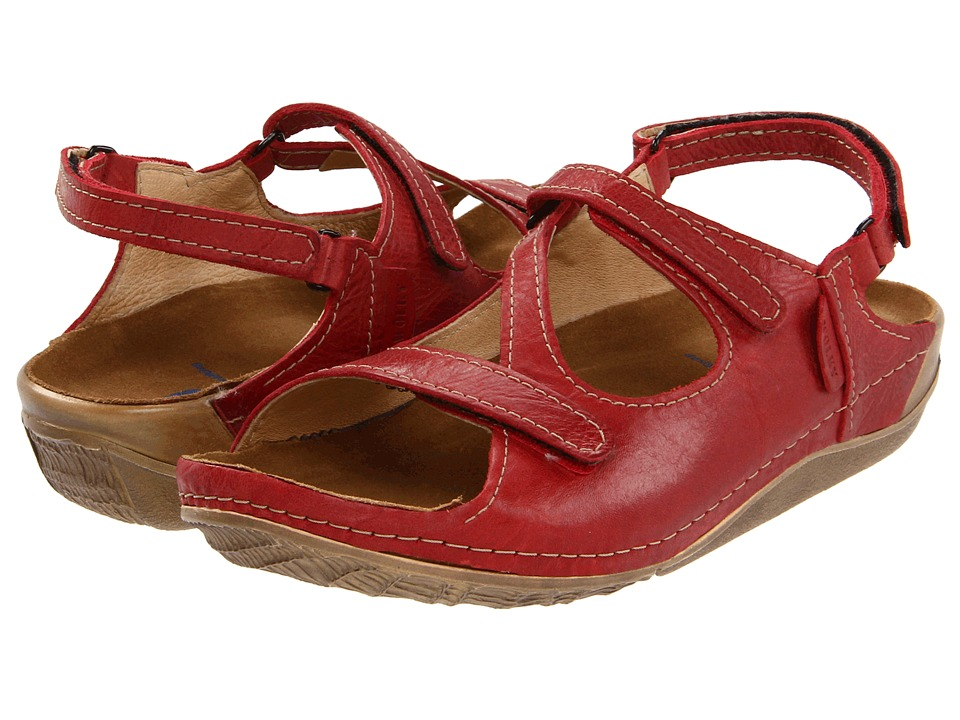 Wolky Leif Red Cartago Leather Womens Sandals