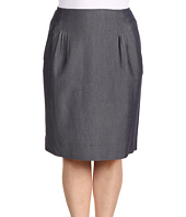 Anne Klein Plus - Plus Size Indigo Twill Skirt w/ Pleats
