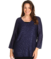 Anne Klein Plus - Plus Size 3/4 Sleeve V-Neck Sequin Tunic