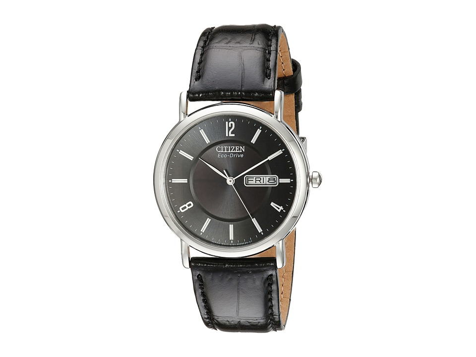 Citizen Watches BM8240 03E Eco Drive Leather Watch Stainless Steel with Black Leather Strap Watches