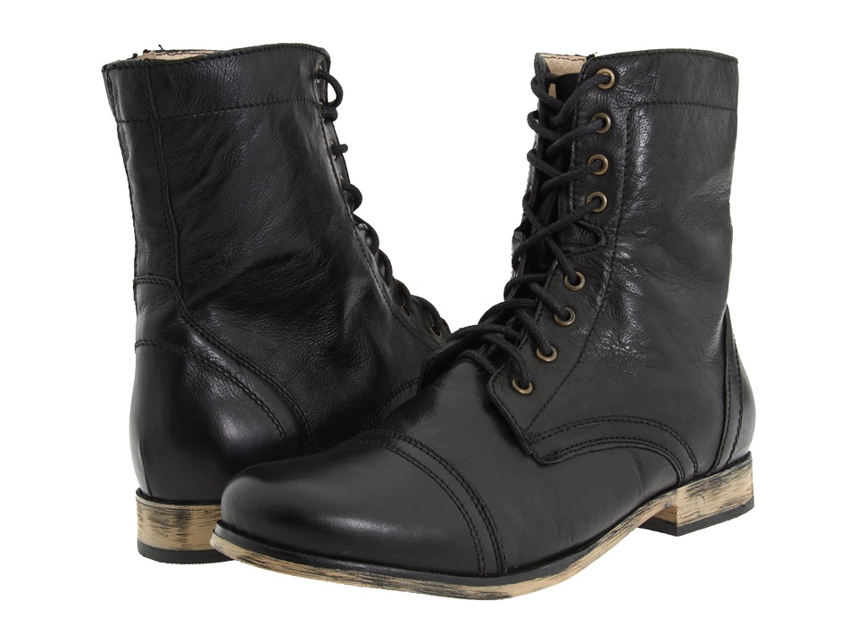 Steve Madden Troopah (Black Leather) Men's Lace-up Boots
