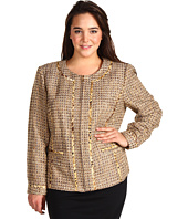 Jones New York - Plus Size Jewel Neck Jacket W/Inserted Tri