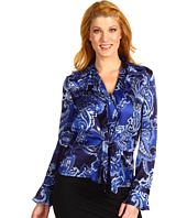 Jones New York - Tie Front Ruffle Blouse