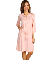 Three Dots - 3/4 Sleeve Shirred Henley Dress