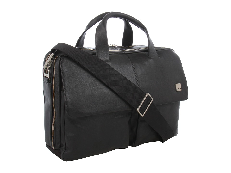 KNOMO London - Warwick Double Compartment Laptop Briefcase (Black) Bags