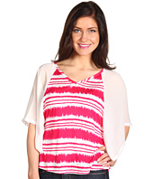 Joan Vass - Printed V-Neck Top w/ Chiffon Sleeves