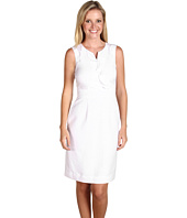 Tahari by ASL - Salliann Linen Ruffle Neckline Sleeveless Dress