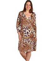Tahari by ASL Plus - Plus Size Annie Matte Jersey Animal Print Wrap Dress