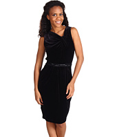 Anne Klein - Velvet Asymmetrical V-Neck Dress